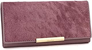 Leather Women's Wallet Long Horsehair Leather Women's Wallet Clutch Wallet Women's Trendy Clutch Waterproof (Color : Pink, Size : S)