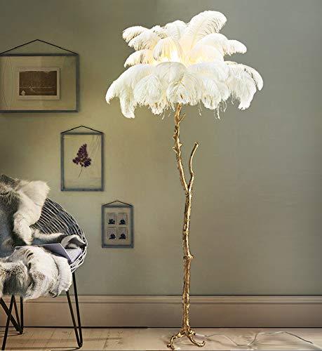 Stehleuchte, LED-Stehleuchte aus Federn, Stehlampe für Wohnzimmer Schlafzimmer Creative Pole mit hängenden Federschatten - hohes Downlight für Schlafzimmer, Familienzimmer, Büros - Antique Brass