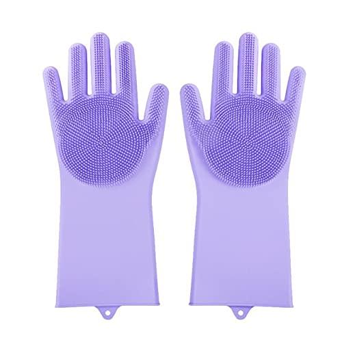 Guantes mágicos para Lavar Platos, 1 par de Guantes de Silicona para Limpieza, fregadora de Cocina, Guantes de Goma, Herramienta de Limpieza para el hogar,Cepillo para Coche y Mascota-Purple