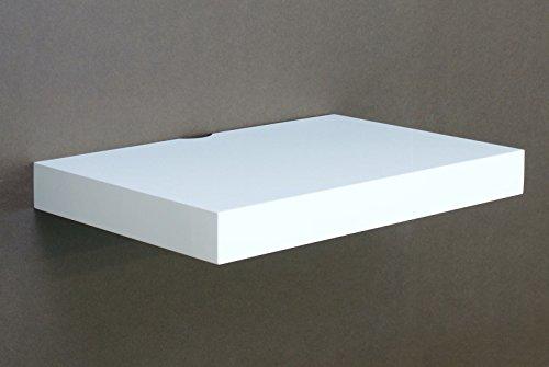 High Gloss Floating Media Shelves Shelf For DVD SKY BOX TV AV Xbox Wall Mounted Kit Unit MDF (High Gloss White)