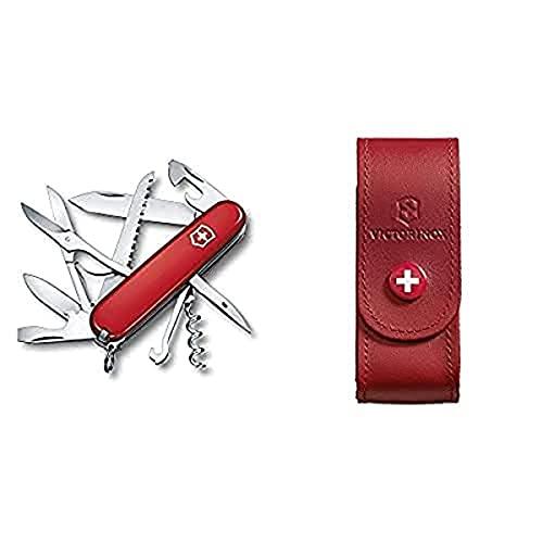 Victorinox Huntsman Swiss Army Couteau de poche, Rouge & 4.0520.1 Etui Cuir Rouge