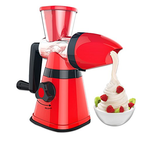 COAWG Healthy Ice Cream Maker, Home Manual Hand Crank Single Auger Ice Cream Machine with Suction Base for kids frozen Fruit