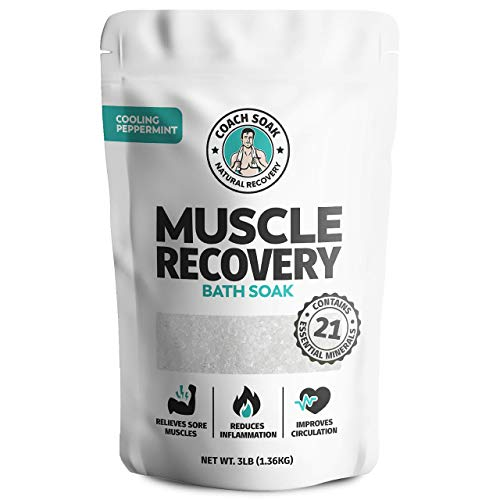 Coach Soak: Muscle Recovery Bath Soak - Natural Magnesium Muscle Relief & Joint Soother - 21 Minerals, Essential Oils & Dead Sea Salt - Absorbs Faster Than Epsom Salt for Soaking (Cooling Peppermint)