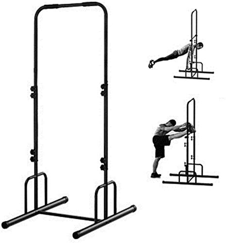 Wghz Power Tower Krafttraining Dip Station Stand Pull-Up Fitnessgeräte Push-Up Workout Klimmzug in Einstellbarer Höhe Horizontal Bar Übung für Arm Musle Home Gym Schwarz 105 * 224 cm
