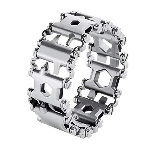 29-in-1-Multifunktionswerkzeug für Armband, multifunktionales Werkzeug für den Außenbereich, mit Schraubenzieher-Kits für unterwegs, tragbares Fahrrad, Multitool (Farbe: silberfarbenes Armband)