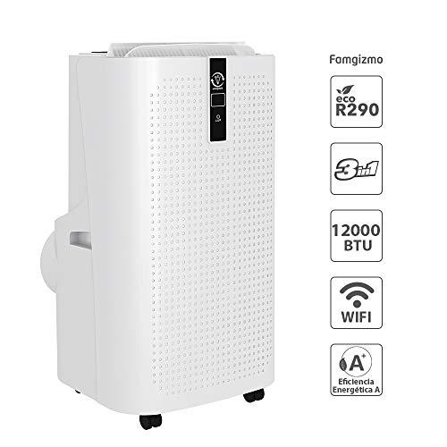 Famgizmo | 3 in 1 LED Wifi Klimaanlage Mobiles Klimagerät kühlen, Luftentfeuchter, lüften, Ventilator | 12000 BTU | 3 Ventilationsstufen | Timer | EEK: A | Schlafmodus | R290 | Fernbedienung | Weiß