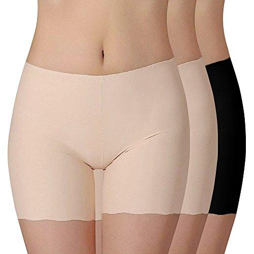 Vertvie Damen 3er Pack Panties Seamless Bambusfaser Unterwäsche Sicherheitshosen Leggings Hipster Retroshorts Boxershorts Unsichtbar Slip (M, Hautfarbe+Hautfarbe+Schwarz)