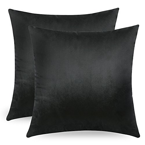 MIULEE Decorative Velvet Cushion Covers 45cm x 45cm/Square Throw Pillowcases for Sofa Bedroom with Invisible Zipper 18x18 Inch Black Sets of Two