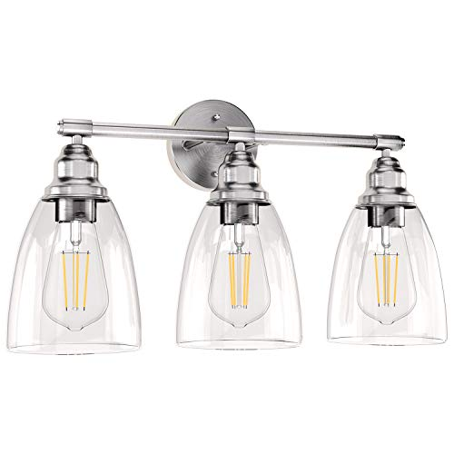 Wall Vanity Light Fixture, Farmhouse Bathroom Lighting, 3-Light Brushed Nickel Wall Sconce Lighting with Glass Shade, Modern Vintage Porch Wall Lamp for Mirror Kitchen Living Room Workshop (E26 Base)