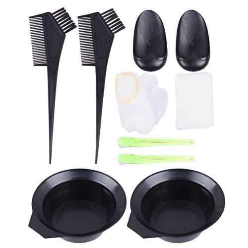 Pixnor Ensemble D'outils de Coloration de Cheveux Bols Et Pinceaux de Teinture Capillaire Professionnelle avec Pince à Cheveux Couvre-Oreille Cape Et Capuchon (22Pcs)
