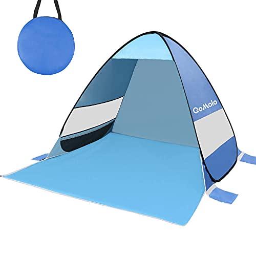 Qomolo Tenda da Spiaggia, Protezione UV 50+ Tenda da Spiaggia Pop-up per 1-2 Persone, Tenda da Campeggio Portatile per Escursioni, Picnic, Pesca, Giardinaggio e Attività All'aperto (Blu)