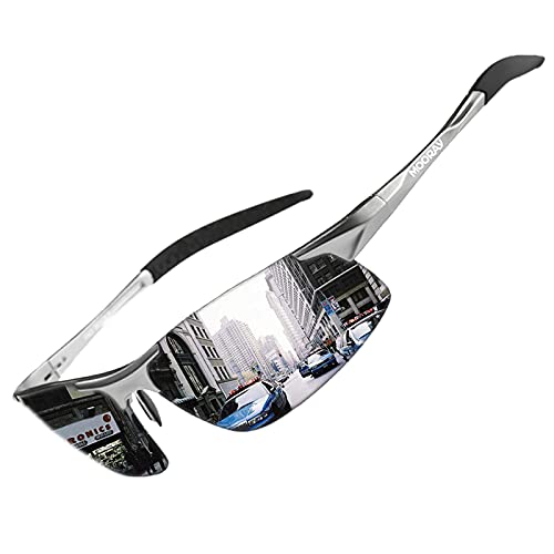 MOORAY Mens Sports Polarized Sunglasses UV Protection Fashion Sunglasses for Men Fishing Driving(Silver,Silver)