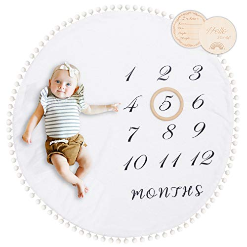 Baby Monthly Blanket with Double-Sided Milestone Cards and Circle Ring Play Mat Large(43.3' X43.3') Double Sided Pom Pom Ball Thick Flannel Round Rug for Boy Girl, Soft Baby Photography Props