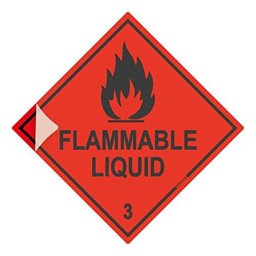 HazChem Flammable Liquid 3 100mm rood HSE diamant, Chemicals Storage Sign, PVC zelfklevende vinyl veiligheidssticker voor auto, bestelwagen, chemische opslag containers Premium Laminated Vinyl