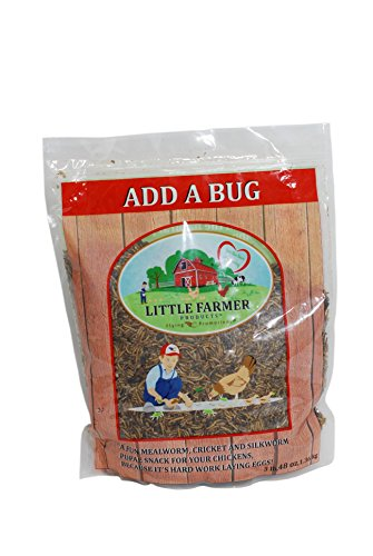 LITTLE FARMER PRODUCTS Add a Bug | Premium Poultry Mix Dried Mealworms, Silkworm Pupae and Crickets | 3 lb