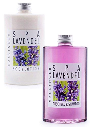 Lashuma Pflegeset Lavendel im 2er Set, Duschbad & Shampoo und Bodylotion mit Lavendelöl, Mandelöl und Shea Butter, Geschenkset 2 x 200 ml