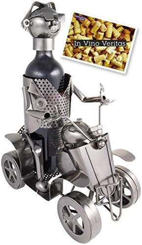 Brubaker Weinflaschenhalter Modell Quad mit Fahrer - Deko Objekt aus Metall Silber - Flaschenständer mit Grußkarte für Weingeschenk