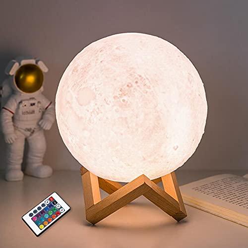 Lámpara de luna CooPark, luz de luna LED impresa en 3D con cambio de 16 colores, control remoto y control táctil y USB recargable como idea de regalo para niños o niñas (15 cm)