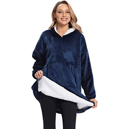 DURINM Mujer Sudadera Caliente y Esponjoso Tops Chaqueta Suéter Jersey Mujer Otoño Invierno Talla Grande Hoodie Sudadera Suelto Sólido Manga Larga (Azul)