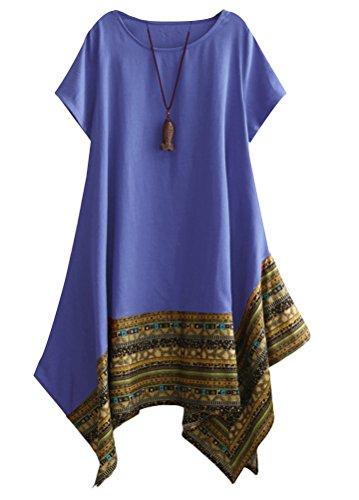 Minibee Women's Ethnic Cotton Linen Short Sleeves Irregular Tunic Dress (M, Blue)
