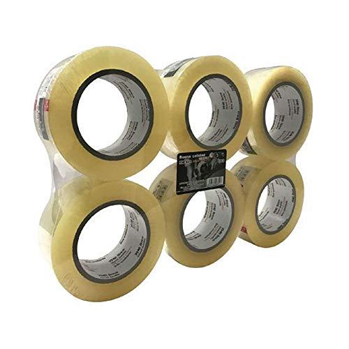 6 Rollos Cinta Embalar Adhesiva Transparente 100 metros x 4,8 cn ara Cajas y Paquetes Ideal para Envíos y Mudanzas – Precinto Embalar Extrafuerte y Resistente