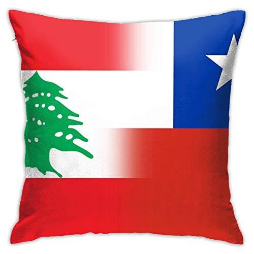 N/Q Fundas de Almohada Personalizadas con la Bandera de Líbano y Chile, Funda de Almohada Decorativa para sofá de Coche, decoración del hogar, 45 x 45CM