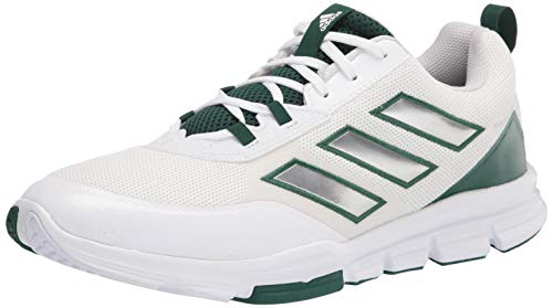 adidas Men s Speed Trainer 5 Baseball Shoe, White Silver Metallic Team Dark Green, 6