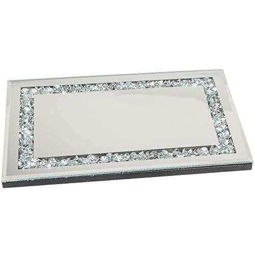 formano Spiegeltablett, Deko Tischspiegel Mirror Stones L. 33cm Silber Glas