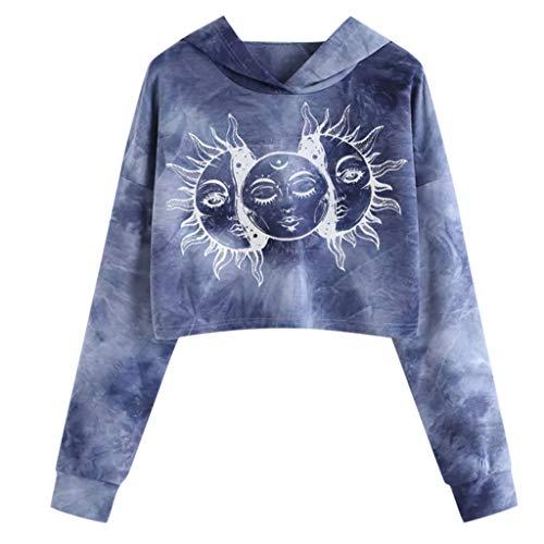 Sunhusing Women's Hipster Tie-dye Print Long Sleeve Mini Short Sweater Hoodie Pullover(Dark Blue 1,Medium)