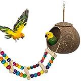 Hanging Coconut Bird House with Ladder,Natural Coconut Fiber Shell Bird Nest for Parrot Parakeet Lovebird Finch Canary,Coconut Hide Bird Swing Toys for Hamster,Bird Cage Accessories,Pet Bird Supplies