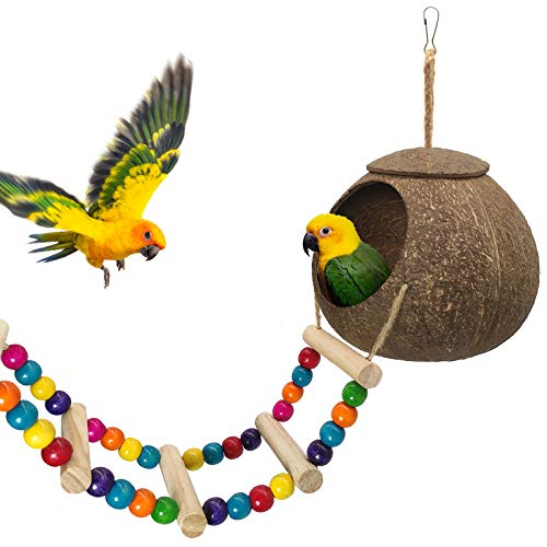 Hanging Coconut Bird House with Ladder,Natural Coconut Fiber Shell Bird Nest for Parrot Parakeet...