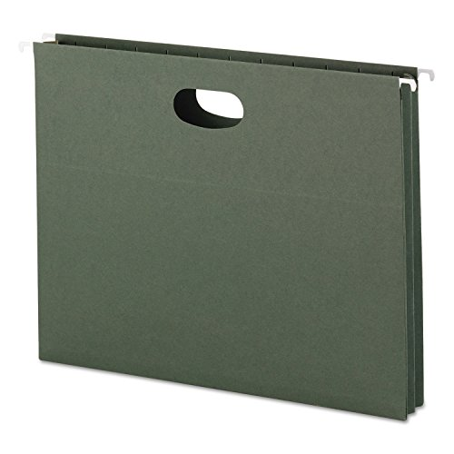 Smead 64218 1 3/4-Inch Cap Hanging Pockets w/Full-Height Gussetts Letter Green 25/Box