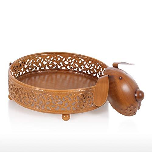 Kücheks Plato de Almacenamiento de Frutas para Cachorros, Soporte para Platos, recipientes Decorativos, estatuilla de Animales, Adorno, Escultura de Hierro
