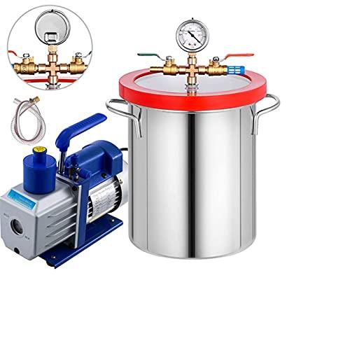 CHENGSYSTE Kit de Bomba de cámara de vacío Acero Inoxidable 2-6GALLON + Bomba DE VACÍO DEGASSING Silicona DEFOMA DE DEFOMACIÓN DE DIAERACIÓN Cámara de vacío Kit by