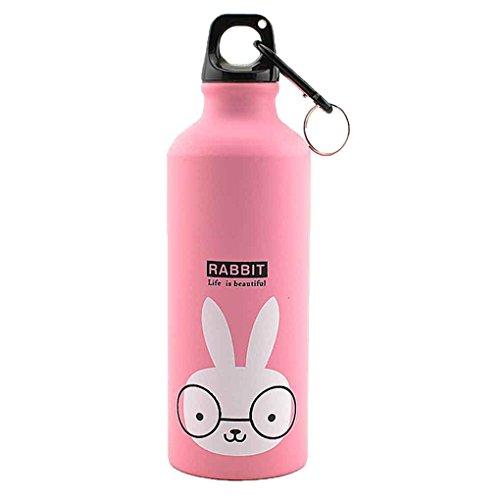 Lafyho 500ml Animales encantadores al Aire Libre se Divierte la Botella portátil de aleación de Aluminio niños Botella de Agua de Dibujos Animados de Animales Patrón Caldera