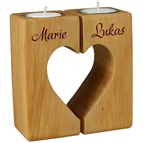 Geschenke 24 Teelicht Paar - Holz Herz - für verliebte Paare - Hochzeitsgeschenk, Hochzeitstag und Jahrestag (Erle geölt)