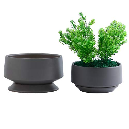 YISHANG Ceramic Planter Pot with Drainage Hole and Saucer/Tray, Indoor Cylinder Round Planter Pot,Set of 2 Glazed Ceramic Modern Planters Indoor Bonsai Container for House Plants(Matte Grey, Medium)