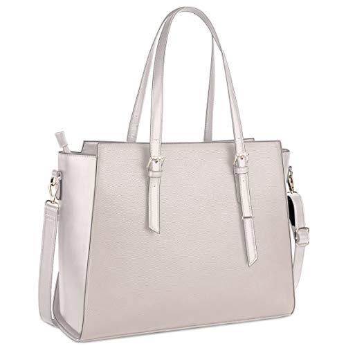 Handtasche Damen Shopper Damen Große Beige Gross Laptop Tasche 15.6 Zoll Elegant Leder Umhängetasche für Büro Arbeit Schule
