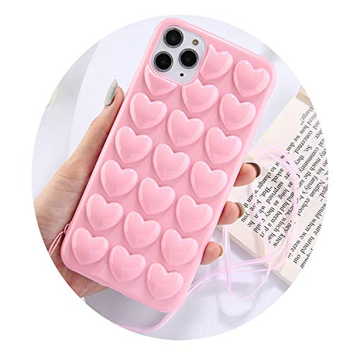NDJqer 3D Love Heart Candy Phone Case for iPhone 11 Pro Max XS Max XR XS X 6 6S 7 8 Plus with Silicone Lanyard Soft Back Cover-Pink-for iPhone XR