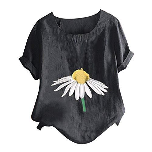 Mode Frauen Baumwolle Leinen Tops Kurz Ärmel Bluse Gedruckt O-Ausschnitt Damen T-Shirt