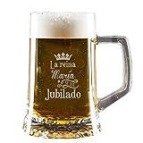 Regalo de jubilación Personalizado: Divertida Jarra de Cerveza grabada con el Nombre del Jubilado o jubilada