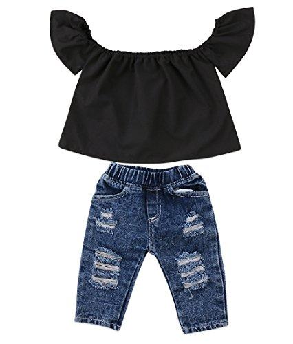 Newborn Kids Baby Girls Off Shoulder Tops Ruffle Sleeve Denim Long Pants Outfits Set Toddler Clothes (Black, 6-12M)