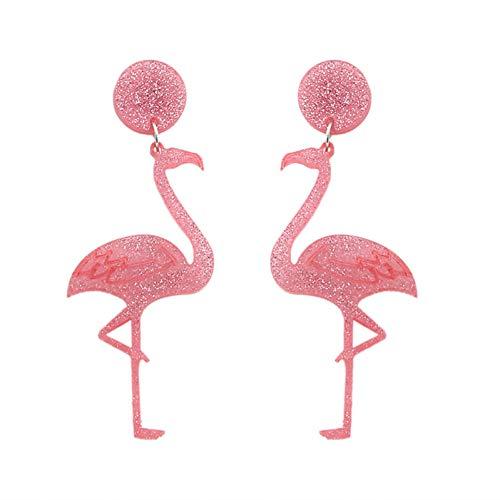 BGBG Orecchini da Donna Orecchini a Goccia da Donna Ciondola Fenicottero Fantasia Ciondolo Personalizzato Vacanze di Base Orecchini Dolci Gioielli Rosa per Regalo