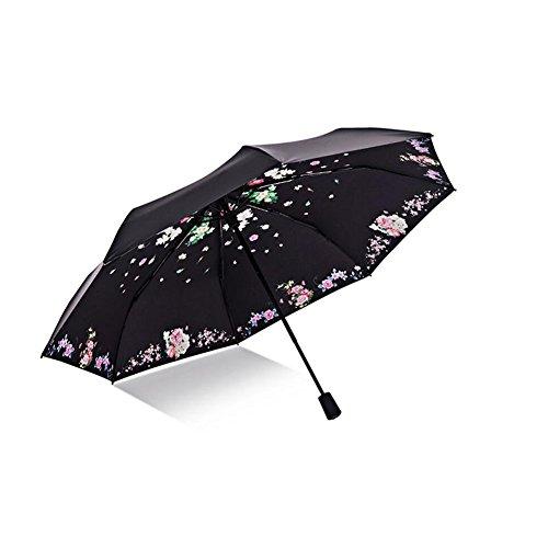 CJC Regenschirm Sonnenschirm Schatten Schutz Anti-UV Gefaltet Pfingstrose Manuell Sonnenschutz (Stoff : T2)