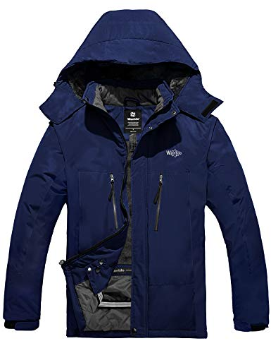 Wantdo Men's Skiing Fleece Jacket Mountain Rainwear Winter Coat Deep Blue M