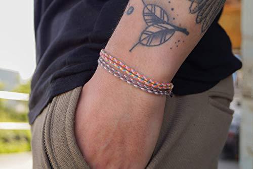 Made by Nami Boho Surfer-Armband 2-er Set Damen & Herren - Handmade Strand Festival Accessoires - Wasserfest & Verstellbar - Freundschaftsarmbänder geflochten Mädchen Stoff-Armband (Retro 2 & Braun)