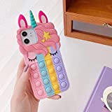 Fidget Toys Case for iPhone 6/7/8/se2020/X/XS,Unicorn Phone Case for iPhone 11/12/12 Pro,Push Bubble Soft Silicone Pop Shockproof Protecive Case for iPhone (Rainbow, for iPhone 12/12 Pro)