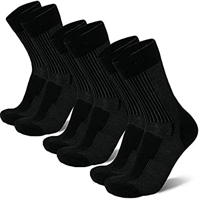 Merino Wool Light Hiking Socks (Black 3-pairs, US Women 5-7 // US Men 3.5-6)