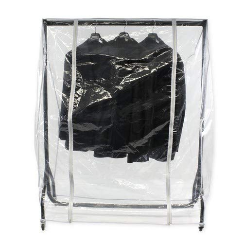 Abdeckhaube für Kleiderständer mit der Breite 150cm, Transparente Schutzhülle mit Zwei Reißverschlüssen