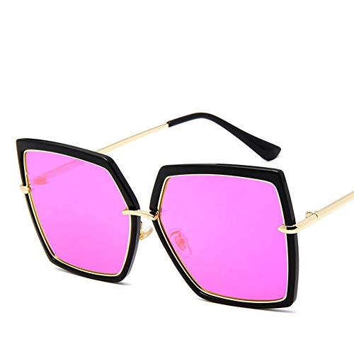 WPHH Gafas De Sol Polarizadas De Cuadradas Gran Tamaño para Mujer, Gafas De Sol De Aleación con Marco Grande Y Degradado UV400 para Mujer,Púrpura